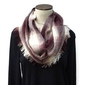Ivory & Burgundy Checkered Plaid Infinity Scarf